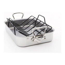 Mauviel - Mauviel M' Cook 5-Ply Stainless Roaster / Roasting Pan with Rack - Multi-layered 18/10 stainless steel provides a rapid, uniform heat conduction and distribution. Noncorrosive Thickness: 1.2mm of aluminum plus 0.8mm of stainless steel for a total of 2.0mm thickness Rack & Marinade Injector are included Polished outside finish Fixed by sturdy stainless steel rivets Stainless steel handles Suitable for electric, gas, halogen and induction cooktops. Made in France.