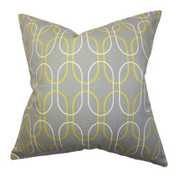 The Pillow Collection - Ickitt Geometric Pillow, Gray - This visually appealing toss pillow adds a dash of artistic elegance to your living space. The bold geometric motif in white and yellow against a gray background lends texture to your sofas, seats, beds and more. Reinvent your home by combining other home accessory with this 100% cotton-made throw pillow. Hidden zipper closure for easy cover removal.  Knife edge finish on all four sides.  Reversible pillow with the same fabric on the back side.  Spot cleaning suggested.