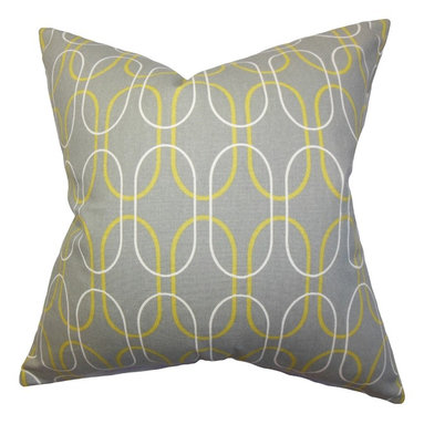 The Pillow Collection - Ickitt Geometric Pillow Gray - This visually appealing toss pillow adds a dash of artistic elegance to your living space. The bold geometric motif in white and yellow against a gray background lends texture to your sofas, seats, beds and more. Reinvent your home by combining other home accessory with this 100% cotton-made throw pillow. Hidden zipper closure for easy cover removal.  Knife edge finish on all four sides.  Reversible pillow with the same fabric on the back side.  Spot cleaning suggested.
