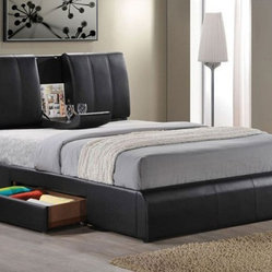 Acme Furniture - Kofi Black PU Finish California King Bed with Sleigh Table - 21