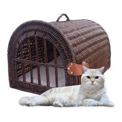 Medium Wicker Pet House/Carrier Chocolate - Cats and small dogs will travel in style inside this beautiful, hand crafted pet carrier. Painstakingly crafted from woven, natural willow with a poly fill cushion  and built in carrying handle. While traveling, the front door can be closed and secured with Velcro straps. When you reach your destination, leave the front door open to transform the carrier into a cozy pet bed.
