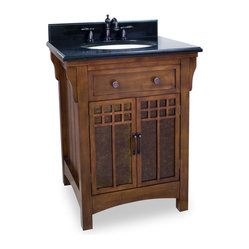 Hardware Resources - Lyn Design VAN037-T Wood Vanity - Art deco fabulousness reigns supreme in this structured, solid wood vanity. Like a tiny Craftsman style house for your toiletries, its chestnut wood finish and amber-hued mica-glass cabinet door inserts elevate your bathroom decor, immeasurably.