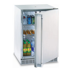 """Frontgate - Lynx 24-inch Refrigerator with Keg Option - Commercial-quality forced-air cooling and advanced insulation ensures proper temperatures are maintained. Two coated stainless steel pullout racks with multiple positions offer extensive storage versatility. Locking door keeps contents secure. Digital temperature control ranges from 33 to 45 degrees F. Interior light offers optimum visibility. The versatile Lynx 24"""" Refrigerator with Keg Option conveniently stows foods and beverages for outdoor entertaining, and easily converts to a beverage dispenser. This handsome model with variable speed compressor is made of durable stainless steel and is UL rated for outdoor use. . .  . . ."""