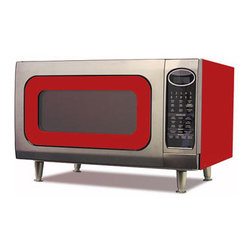 "Big Chill - Big Chill Retro Microwave 24 in. wide - Cherry Red - The Big Chill Cherry Red Retro Microwave has the vintage charm you love with the modern microwave power of today. Stylishly designed to rest on your countertop, the Big Chill Red Retro Microwave combines chrome, red trimming, and the Big Chill color of your choosing for a fresh vintage look. With nine cooking settings, 1200 watts of output power, and a 16"" turntable, this retro microwave is as modern as it gets, and is a one-of-a-kind addition to any kitchen decor."