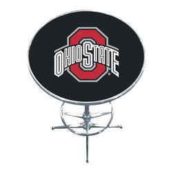 Imperial International - Ohio State University NCAA Pub Table - Check out this awesome pub table. It's perfect for your Man Cave, Game Room, Home Bar, or anywhere you want to show love for your favorite team. It has a disco style steel base with leg levelers and foot ring.
