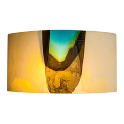 Art Glass Design Studio - Provence Wall Sconce Large - Handcrafted art glass sconce. Varda uses glass much like a quilter uses fabric; creating a glass canvas from bits and pieces of glass, that is fired, cut and used again in a new design, using layers of color and texture to create depth in a piece of art.