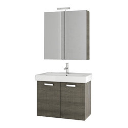 ACF - 30 Inch Grey Oak Bathroom Vanity Set - Manufactured and designed in Italy, this bathroom vanity set was made with the contemporary bathroom in mind. It is 30 inches wide and comes with a two door vanity cabinet, ceramic sink, medicine cabinet, and tall storage cabinet. It is a wall mounted uni