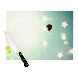 """Kess InHouse - Robin Dickinson """"Amongst The Stars"""" Teal Stars Cutting Board (11"""" x 7.5"""") - These sturdy tempered glass cutting boards will make everything you chop look like a Dutch painting. Perfect the art of cooking with your KESS InHouse unique art cutting board. Go for patterns or painted, either way this non-skid, dishwasher safe cutting board is perfect for preparing any artistic dinner or serving. Cut, chop, serve or frame, all of these unique cutting boards are gorgeous."""