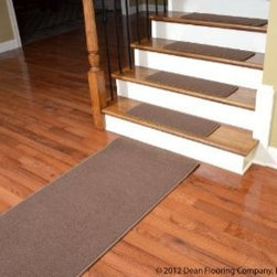 """Dean Flooring Company - Dean Premium Carpet Stair Treads - Odette Point Mantle (13) 30""""x9"""" Plus Runner - Dean Premium Stainmaster Nylon Carpet Stair Treads - Odette Point Mantle (13) 30"""" x 9"""" Plus 5' Landing Runner : Premium Carpet Stair Treads by Dean Flooring Company Color: Odette Point Mantle (Brown) Material: 100% BCF Stainmaster Nylon. Edges: Finished (serged) with attractive color matching yarn. Size: Approximately 30"""" x 9"""". Set includes 13 stair treads plus a matching 5' runnr for your landing.  Edges are finished with attractive color matching yarn and rounded corners. Easy to spot clean and vacuum. Helps prevent slips on your hardwood stairs. Great for helping your dog easily navigate your slippery staircase. Reduces noise. Reduces wear and tear on your hardwood stairs. Attractive: adds a fresh new look to your staircase. Easy DIY installation with double sided carpet tape (not included - sold separately). Made in the USA! Add a touch of warmth and style to your home today with stair treads from Dean Flooring Company!"""