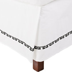 Impressions - Impressions Kendell Cotton Bedskirt - KENDELL-XLBS-BG - Shop for Bedskirts from Hayneedle.com! The simple straightforward style of the Impressions Kendell Cotton Bedskirt is refreshingly chic. With a 15-inch drop and pleated corners this bedskirt features an all-white background and embroidered classic Greek key motif that s available in your choice of color. The 100% cotton construction has a 200-thread count and it s machine washable for easy breezy maintenance. Pairs perfectly with other pieces in the Impressions Kendell line.Dimensions:Twin XL: 39L x 80W inchesFull: 54L x 75W inchesQueen: 60L x 80W inchesKing: 78L x 80W inchesCalifornia King: 72L x 84W inchesAbout Home City Inc.Established in the 1980s in Queens New York selling towels and lower-thread-count sheets Home City Inc. started in small office and has developed into a worldwide manufacturing and importing company based out of Brooklyn NY. They were able to establish the name Home City Inc. in 2003 which set the tone for the growth in a company that boasts over 25 years of experience in production. Over the years Home City has developed and perfected unparalleled quality products that now serve domestic and international retail stores. Today Home City's fulfillment center is located in Linden NJ with a showroom on Fifth Avenue in New York NY allowing them to provide their customers with an expanded selection of sheet sets duvet cover sets bed skirts pillowcase sets bed-in-bag sets down comforters mattress toppers pillows quilts robes towel sets and more.