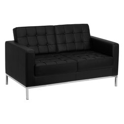 Flash Furniture - Flash Furniture Hercules Lacey Series Contemporary Black Leather Loveseat - This attractive black leather reception love seat will complete your upscale reception area. The design of this love seat allows it to adapt in a multitude of environments with its button tufted cushions and stainless steel frame. [Z-BLACEY-831-2-LS-BK-GG]