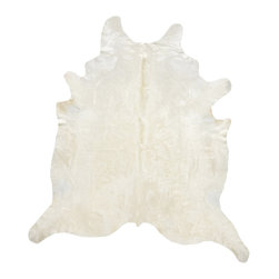 Natural White Cowhide Rug - XL - An essential modern decor element, our 100% natural white color hair-on cowhide is a perfect way to liven up any room. Individually hand selected for their superior shine and softness, our hides are ensured to be of the highest quality. Because of its naturally stain-resistant nature, our cowhide rugs are suitable for use in high traffic areas and will last you for a very long time. Originating from the Brazilian grasslands, these hides are hand finished with the best tanning methods possible. Our supple rugs complement any home decor, from chic to rustic, and lets your guests know what exceptional taste you have.