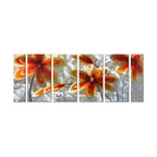 Pure Art - Modern Meadow Flower Wall Art Set of 6 - This contemporary metal artwork brings to mind the carefree pop art of the 1960s: It showcases a grouping of flowers with fanciful petals and layers of color, accented with ribbons of silvery white. The use of gold and orange against a silver backdrop makes the flowers pop with vivacious energy while the bended stems add a naturalistic touch.Made with top grade aluminum material and handcrafted with the use of special colors, it is a very appealing piece that sticks out with its genuine glow. Easy to hang and clean.