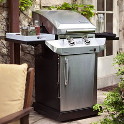 Char-Broil - Char-Broil Performance T-22D TRU-Infrared 340 Multicolor - 463270614 - Shop for Grills from Hayneedle.com! To get a small grill you used to have to accept small features. But that's not your style so the Char-Broil Performance T-22D TRU-Infrared 340 Gas Grill is your best choice. It's small enough to fit on the patios of cozier homes apartments or condos yet it's huge with high-end features. No more lighters or dud matches: you'll get patented Surefire Electronic Ignition. Each burner has its own temperature gauge and heat is measured at the cooking surface so you get exactly what you ask for. The included black enamel cabinet is handsome and strong keeping your supplies organized and your tank out of view behind a gleaming stainless steel door. The solid lid handle is comfortably curved and stays cool even when the grill is hot. Heavy-duty side tables are there when you need them and fold out of the way when you don't. It's a masterpiece just like your cooking. This grill includes TRU-Infrared heat the secret to food that's BBQ-crispy heaven on the outside and perfectly cooked inside. This combination of infrared and open-flame heat once reserved for professional chefs also includes all stainless steel construction that's more durable than ceramic. The TRU-Infrared design allows you to add wood chips directly on the grates for added flavor. It stretches across the entire cooking surface so small items can't fall through the cracks and cause flare-ups. Leave that problem for lesser grills. Features:340 sq. in. area of infrared cooking keeps food most and juicy125 sq. in. secondary cooking area for warmingStainless steel cooking surface covers entire grill - no lost tidbits21 000 BTU output from compact unitFolding heavy-duty shelves and enclosed cart includedIncludes Surefire Electronic Ignition About Char-BroilChar-Broil is a widely known producer of premium outdoor cooking products ranging from the finest stainless steel outdoor grills to the equally important spatula. Each of their products is crafted with care and precision keeping in mind the exacting standards of their customers. Their products span a huge array of selection and price ranges; chances are they've got a product with you in mind. Founded in 1948 Char-Broil's vast product line includes just about every kind of cooking apparatus imaginable. Whether it's barbecue straight grilling smoking or frying products you're looking for or a nice outdoor fireplace you can't go wrong with a Char-Broil.
