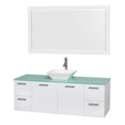"""Wyndham Collection(R) - Amare 60"""" Wall-Mounted Single Bathroom Vanity Set with Vessel Sink by Wyndham Co - The Wyndham Collection is an entirely unique and innovative bath line. Sure to inspire imitators, the original Wyndham Collection sets new standards for design and construction. The Amare wall-mounted vanity family delivers beautiful wood grain exteriors offset by modern brushed chrome door pulls. Each vanity provides a full complement of storage areas behind sturdy soft-close doors and drawers. This versatile vanity family is available with distinctive vessel sinks or sleek integrated counter and sinks to fulfill your design dreams. A wall-mounted vanity leaves space in your bathroom for you to relax. The simple clean lines of the Amare wall-mounted vanity family are no-fuss and all style. Amare Bathroom Vanities are available in multiple sizes and finishes. FeaturesConstructed of the highest grade MDF, engineered for durability to prevent warping and last a lifetime 8-stage preparation, painting and finishing processHighly water-resistant low V.O.C. sealed finishUnique and striking contemporary designModern Wall-Mount DesignMinimal assembly requiredDeep Doweled DrawersFully-extending soft-close drawer slides Concealed soft-close door hinges Counter options include Green Glass, White Man-Made Stone.Backsplash not availableAvailable with Porcelain, Granite, and Marble vessel sink(s) Square Sink Single-hole faucet mountFaucet(s) not includedMirror includedMetal exterior hardware with brushed chrome finish Two (2) functional doors Four (4) functional drawers Plenty of storage spacePlenty of counter space Includes drain assemblies and P-traps for easy assembly How to handle your counter Spec Sheet for Vanity Installation Guide for Vanity Spec Sheet for MirrorInstallation Guide for Mirror Spec Sheet for Amare Rotating Wall Cabinet with Mirror (WC-RYV202) Spec Sheet for Amare Bathroom Wall Cabinet (WC-RYV205)Installation Guide for Amare Bathroom Wall Cabinet (WC-RYV"""