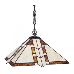 One Light Antique Brass Multi Color Tiffany Glass Down Pendant - Creamy white glass accented with rippled amber accents gives this tiffany style pendant its warm, inviting look. This fixture is finished in chestnut bronze