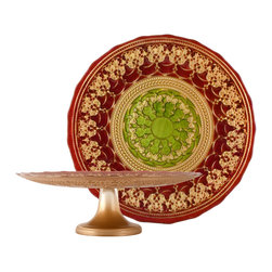"""Traders and Company - Hand-Painted Red, Gold & Green Embossed Glass Cake Stand, 13""""D 4""""H - Rococo - Inspired by the decorative style of the bejeweled mosaics of Byzantine.  These rich colored plates and bowls have been adapted to express the mystic character of the Byzantium Empire. Alternate shapes & styles sold separately. Hand wash only; not for use in dishwasher, microwave, or oven."""
