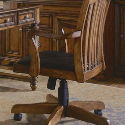 Hooker Furniture - Brookhaven Arm Chair w Casters - Swivel and tilt. Pneumatic gas lift. Buffalo split leather seat. Five star base. Made from hardwood solids and cherry veneers. Highly distressed medium clear cherry finish. Minimum arm height: 25.75 in.. Maximum arm height: 29.75 in.. Chair back: 18.5 in. H. Arm to arm widest angle: 20.63 in. W. Arm to arm narrowest angle: 19.75 in. W. Seat depth: 22 in.. Seat height: 18.5 in.. Overall: 23.5 in. W x 25.25 in. D x 37.25 in. H. Warranty. Cylinder Replacement Instructions. Assembly Instructions