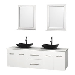 "Wyndham Collection - Centra 72"" White Double Vanity, White Carrera Marble Top, Black Granite Sinks - Simplicity and elegance combine in the perfect lines of the Centra vanity by the Wyndham Collection. If cutting-edge contemporary design is your style then the Centra vanity is for you - modern, chic and built to last a lifetime. Available with green glass, pure white man-made stone, ivory marble or white carrera marble counters, with stunning vessel or undermount sink(s) and matching mirror(s). Featuring soft close door hinges, drawer glides, and meticulously finished with brushed chrome hardware. The attention to detail on this beautiful vanity is second to none."