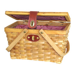 Picnic Basket with Red White Plaid Lining - Utilizing the classic picnic basket design, the Piccadilly Willow Picnic Basket is a throwback to a simpler time when having a picnic in the park was a grand affair. This fully lined, red and white plaid basket features an easy-access double-lid design and enough space for a cozy meal for two.