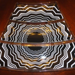Missoni Black/White Chevron Puzzle Tray Appetizer Floral Serving Dish Plate - There can never be too many chevron designs. This three-piece puzzle tray would be complete with some xiao long bao (soup dumplings).