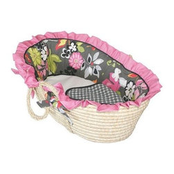 Hoohobbers Moses Basket - Sleek Slate - Fashionistas come in every size - even newborn. Little ones can snuggle in high style amid the trappings of the Hoohobbers Moses Basket - Sleek Slate a cozy portable sleeper with bright touches and boldly mixed prints. Crafted with durable woven material and sturdy side handles this Moses basket is lined with super-soft long-lasting bedding in 100% cotton flannel - a bumper sheet plus cushion and double-sided blanket are included all in solids or graphic floral and check prints in shades of slate grey black white pink green and orange. Both the basket and bedding is machine washable for easy care. Simply remove the formed bumper insert to ensure it holds its shape gently wash and dry the cover with the other pieces and slip the insert back inside the freshly laundered cover. Suggested use for newborns.About HoohobbersBased in Chicago Hoohobbers has designed and manufactured its own line of products since 1981 beginning with the now-classic junior director's chair. Hoohobbers makes both hard goods (furniture) and soft goods. Hoohobbers' hard goods are not your typical furniture products; they fold are lightweight and portable and are made to be carried by children all around the house. Even outdoors Hoohobbers' hard goods are 100 percent water-safe. At the same time they are plenty durable and can take the abuse children often give. Hoohobbers' soft goods are fabric items ranging from bibs to bedding from art smocks to Moses baskets.Hoohobbers' products are recognized by independent third parties for their quality and performance. Hoohobbers has received Best Design Awards from America's Juvenile Products Association each time selected from more than 20 000 products. Hoohobbers has also received the Parents' Choice Award and no Hoohobbers product has ever been subject to consumer recall. Furthermore the company's products are often featured in leading women's and children's publications.