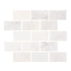 "Tile Circle - Aspen White Marble 2"" X 4"" Beveled Polished Tile (Backplash, Bathroom), 12x12 - Perfect for kitchen backsplashes or bathroom tile installations."