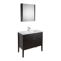 """Vigo Industries - VIGO 36"""" Maxine Single Bathroom Vanity with Medicine Cabinet - Espresso - Elegance is at your fingertips with this beautiful VIGO bathroom vanity. No other brand can match VIGO's style, quality and design. This 36-inch freestanding cabinet features double, soft closing doors with two sleek vertical chrome finished handles The VIGO Maxine collection is a modern and assertive addition to any bathroom. Features Cabinet is constructed of engineered wood with wood veneers, in an Espresso Black Matte finish, consisting of an anti-scratch surface for enhanced durability. Interior features a pull out drawer plus storage shelf Contains one white porcelain countertop featuring a fully integrated sink with a single hole for easy faucet installation Includes a medicine cabinet with mirror in matching Espresso Black Matte finish with adjustable interior glass shelves Includes solid brass, chrome-plated drain assembly All mounting hardware included Vanity is fabricated for freestanding installation This cabinet is shipped assembled 5 Year Limited Warranty Faucet NOT included How to handle your counterView Spec Sheet"""