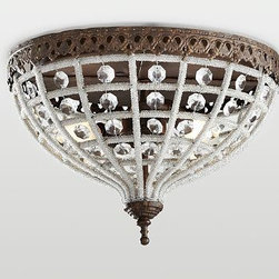 """Dalila Crystal Beaded Flushmount, Antique Bronze finish - Hundreds of clear glass beads wrap the frame of our flush-mount fixture, giving it the frosty look of winter branches. 12"""" diameter, 8.25"""" high Glass beads hang from a filigreed steel frame with an antique-bronze finish. UL-listed. Title 20 compliant lamps will be shipped to CA addresses. {{link path='pages/popups/california_code_popup.html' class='popup' width='480' height='300'}}Learn more{{/link}} to understand product differences. Hardwire; professional installation recommended."""