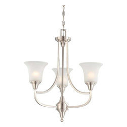 Glomar - Glomar Chandeliers 3-Light Brushed Nickel Chandelier with Frosted Glass Shade - Shop for Lighting & Ceiling Fans at The Home Depot. This collection was created to find that perfect style that can cross the boundaries between traditional and contemporary design. Its contemporary lines follow the path of traditional fixture designs while the sleek square tubing and cone shaped fittings offer a modern edge and easily finds itself at home in many styles. Offered in vintage bronze with auburn beige glass and brushed nickel with frosted glass shades. This complete product offering offers a fixture for nearly every application.