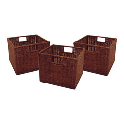Winsome Wood - Winsome Wood Leo Small Wired Baskets (3) with Antique Walnut Finish X-01329 - This set of three wicker baskets is ideal for use with the Espresso Wide and Narrow Storage Shelves. Made from durable wicker, they are practical as well as elegant.