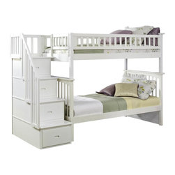 Atlantic Furniture - Columbia Staircase Bunk Bed, White, Twin Over Twin - Constructed in solid eco-friendly hardwood, in four high build durable finishes, the Columbia bunk bed has a built in modesty panel and can accommodate under bed storage drawers or a trundle. With its 26 steel reinforcement points and two 14 piece slat kits, this bed is as sturdy as they come. So many sleep options, and it creates convenient space in your child's room. This bed will surely become their favorite sleepy time fort and you can feel good about the quality and value.