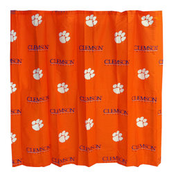 College Covers - NCAA Clemson Tigers Shower Curtain Bathroom Decoration - Features: