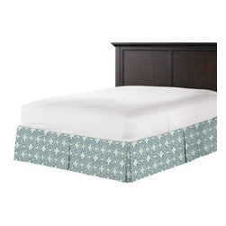 Aqua Moroccan Mosaic Custom Bed Skirt - With clean lines and crisp pleated sides and corners, our Tailored Bedskirt is the classic finishing touch for the sharp dressed bed.  We love it in this teal and aqua block print reminiscent of traditional Moroccan mosaics.