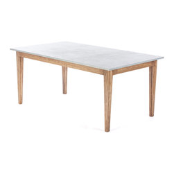 Kingston Krafts - Real Zinc Top Dining Table, Extra Large - Zinc topped dining table with solid pine base. Zinc top features acid wash finish for an old worn look. Clear coated to seal in patina and protect from stains. Pine base is finished in a walnut stain and satin lacquer clear coat.