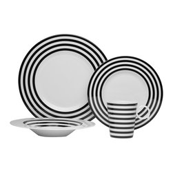 Freshness Lines Black 4Pc Place Setting - The Freshness collection brings a vibrant burst of color into your home.  Adorned with vertical lines, solid bands and dots in a variety of hues, this four piece place setting is perfect for casual and formal entertaining alike.