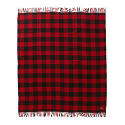 Faribault Woolen Mill Co. - Buffalo Plaid Wool Throw, Red/Black - Based on the timeless buffalo check design, this lumberjack plaid pattern would make our fellow Minnesotan, Paul Bunyan proud. The 2x2 twill construction creates a distinctive diagonal pattern that brings out the intricacies of the design. This is your blanket if you're seeking an authentic outdoor look. Permanently moth-proofed, 100% pure wool.