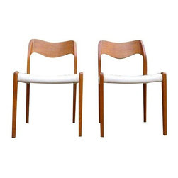 "Pre-owned Teak Mid-Century Modern Chairs by Moller - Pair of Mid-Century Modern Teak Danish dining chairs ��� model # 71 by Niels Moller for J.L. Moller. Stunning organic design and perfectly executed joinery connects the solid teak backrest to the rear legs. Absolute perfection. Great condition with what appears to be original white naugahyde upholstery, also in great condition. Priced for the pair - Design Within Reach currently has these posted at $850/each.    19.25""W x 20""D x 31.5""/back height x 17""/seat height"