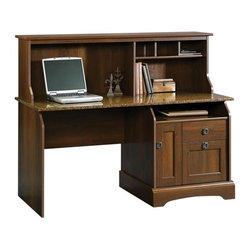 Sauder - Graham Ridge Computer Desk w Hutch in Euro Oa - 2 Drawers feature patented T-lock assembly system. Sunset Granite accent. EverSheen� top-coat provides clear, durable finish that resists heat, stains and scratches. Lower drawer with full extension slides holds letter or legal size hanging files. Storage area behind door features an adjustable shelf and holds vertical CPU tower. Hutch has cubbyhole storage and vertical storage compartments. Made of engineered wood. Assembly required. 59 in. W x 23 in. D x 47 in. H