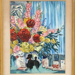 Andre Velmar, Birthday, Watercolor - Artist:  Andre Velmar, American (1919 - )