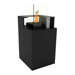 Decorpro - Podium Bio Ethanol Fireburner and Storage Unit In Black Textured - Podium takes storage to new heights. Clean lines and great hardware make this unit a must have. Store extra fuel, towels or whatever you may need to hideaway in a neat and well designed fireburner. Great to have under a sheltered porch. Perfect for storing the extra towels while you relax in the hot tub and enjoy the fire from a distance. Available in seven colours.