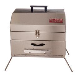 "Hasty-Bake - Hasty-Bake Portable 369 Charcoal Grill - The Portable is our ""go anywhere"" Hasty-Bake. Complete with a carry handle, latch and fold-out legs, this unit performs like our full-sized ovens, with the exception of an adjustable fire box. Perfect for tailgate parties, apartments, and outdoor activities-wherever you get hungry. Sold individually.   Features:"