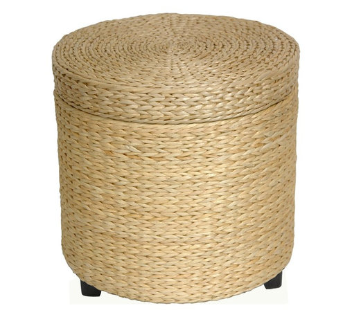 Oriental Furniture - Rush Grass Storage Footstool - Natural - Simple, solid, and beautiful. This round shaped small foot stool has lots of uses and is great to look at. Made from rattan style rush grass woven on wood frames, with dark stained wooden feet. Cotton fabric lines the extra thick lid and body of this foot stool, providing a great place to store sewing, toys, or shoes-anything! At 17 inches tall, this piece is about the height of an average coffee table. Customers have commented that the soft, thick, rush grass has a feeling of excellent quality.