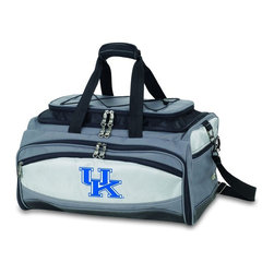 "Picnic Time - University of Kentucky Buccaneer Cooler And Barbecue Set - The Buccaneer is a Picnic Time original design and the ultimate tailgating cooler and barbecue set in one! Don't be fooled by other similar looking items on the market. Only Picnic Time's Buccaneer features a PVC cooler that conveniently nests inside the compartment that houses the portable BBQ. The tote can carry the BBQ and a fully-loaded cooler at the same time! This patented, innovative design features a large insulated and fully-removable, water-resistant cooler that measures 16 x 8 x 7"" and holds up to 24 12-oz soda cans. Unzip the cooler from the main tote to access the portable charcoal barbecue grill that's included. The cooler has two carry straps on either side, and features a mesh pocket on the interior lid that fits a large ice pack/gel pack. The Buccaneer also features an adjustable shoulder strap with comfort pad, a reinforced waterproof base, three large zippered exterior pockets to store personal effects, padded carry handles, and a stretch cargo cord on the top of the tote to carry a blanket or towel. Included in the tote are: 1 portable charcoal BBQ grill with lid (16.7 x 10.8 x 5.1""), one black drawstring bag to hold the grill, and three stainless steel tools with aluminum handles and non-slip thumb grips: 1 large spatula featuring a built-in bottle opener, grill scraper, and serrated edge for cutting, 1 pair of tongs, and 1 BBQ fork. Don't be caught without the Buccaneer at your next tailgating party!; College Name: University of Kentucky; Mascot: Wildcats; Decoration: Digital Print; Includes: 1 BBQ grill with lid 1 Large spatula with serrated edge 1 Pair tongs 1 BBQ fork 1 Removable, insulated cooler tote"
