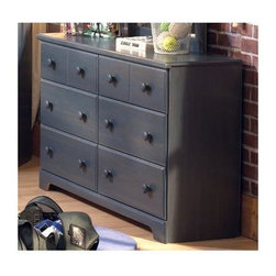 """South Shore - Provincetown Double Blueberry Dresser - The Provincetown Double Blueberry Dresser adds a note of elegant distinction to any upscale bedroom setting. Constructed with care from Blueberry-finished particleboard, this stately 32"""" tall Double Dresser features six pull out drawers and an expansive 51"""" by 16"""" top. * Manufactured from eco-friendly, EPP-compliant laminated particle boardcarrying the Forest Stewardship Council (FSC) certification. Constructed of particleboard with a Blueberry finish. Dresser has six pull-out drawers. Assembly required. 5-year manufacturer's limited warranty . H x 51 W x 16 D in."""