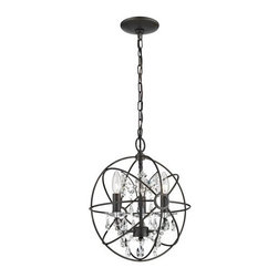 Sterling Industries - Sterling Industries 124-003 3 Light Foyer Globe Pendant with Crystal Insets - Features: