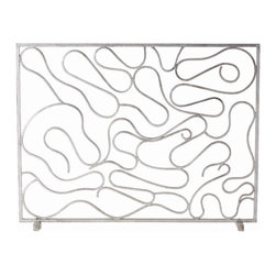Arteriors - Halle Screen - This handmade iron fireplace screen with its artfully placed metal bars has a sense of celebration and drama and is guaranteed to make a strong visual impact no matter where you place it. Finished in silver leaf. Decorative use only.