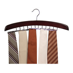 Richards Homewares - Richards Homewares Walnut Closet Accessories 24-tie Hardwood Hanger - An easy and elegant way to keep your neck ties and belts organized and accessible. This sturdy piece is crafted of durable hardwood and chrome accents and lets you safely hang up to 24 ties and belts.