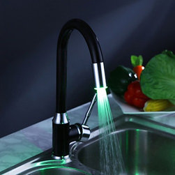 Kitchen Sink Faucets - Painting Finish Kitchen Faucet with Color Changing LED Light