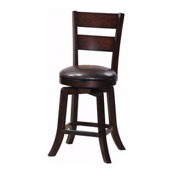 "Steve Silver - Steve Silver Gimlet 24 Inch Ladderback Swivel Counter Stool (Set of 2) - The Gimlet stool collection offers simple sophisticated seating for your counter or bar, with a versatile dark wood finish and a variety of styles to choose from. The Gimlet ladder back counter stool has a horizontal slat design and a dark brown vinyl padded swivel seat. The 24"" seat height makes it compatible with most counters and counter tables. What's included: Counter Height Stool (can only be purchased in sets of 2)."
